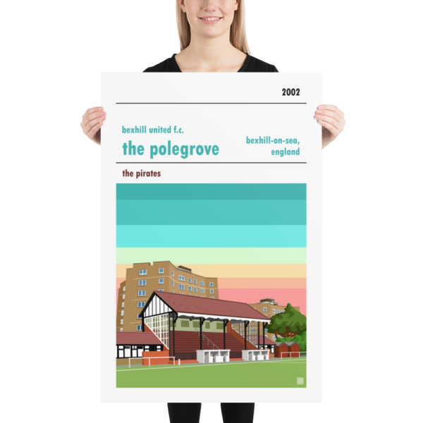 A large poster of the Polegrove, home of Bexhill United.