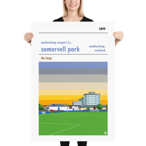 Massive football poster of Cambuslang Rangers FC and Somervell Park