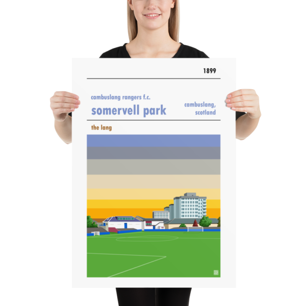 Large football poster of Cambuslang Rangers FC and Somervell Park