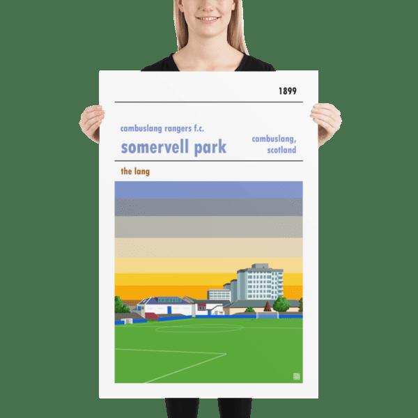Huge football poster of Cambuslang Rangers FC and Somervell Park