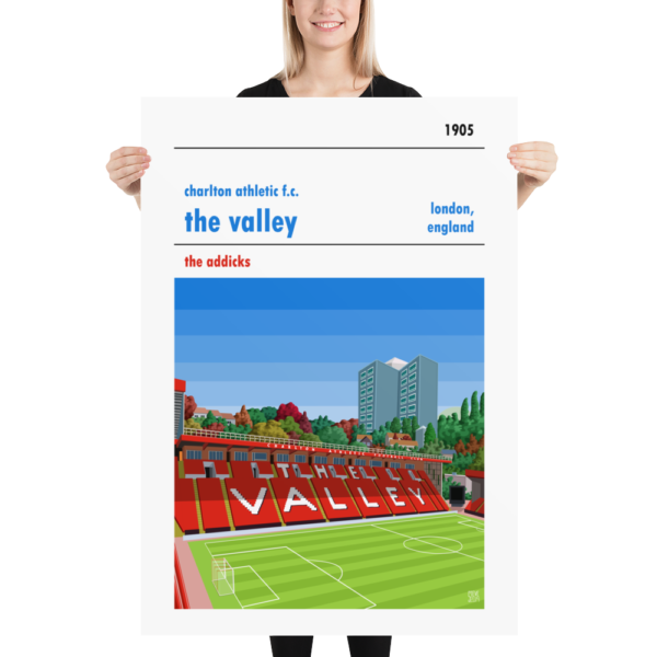 Massive football poster of Charlton FC and the Valley