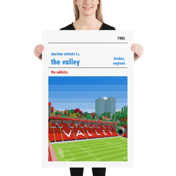 Huge football poster of Charlton FC and the Valley