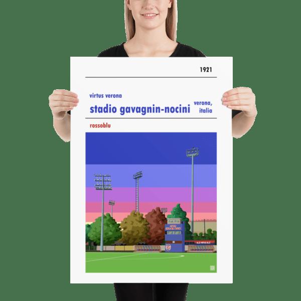 Large football poster of Virtus Verona and Stadio Gavagnin Nocini