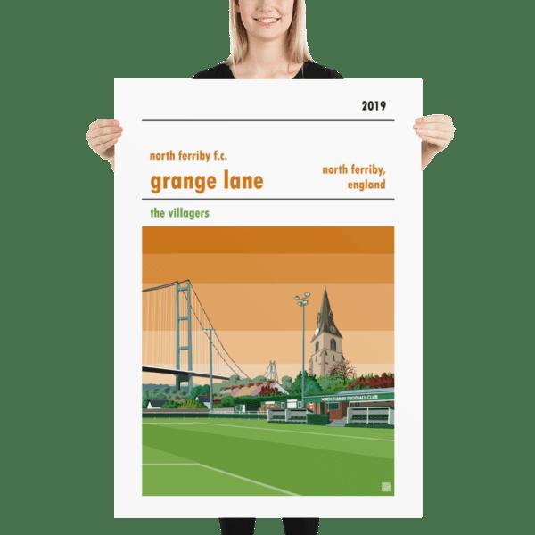Massive football print of North Ferriby FC and Grange Lane