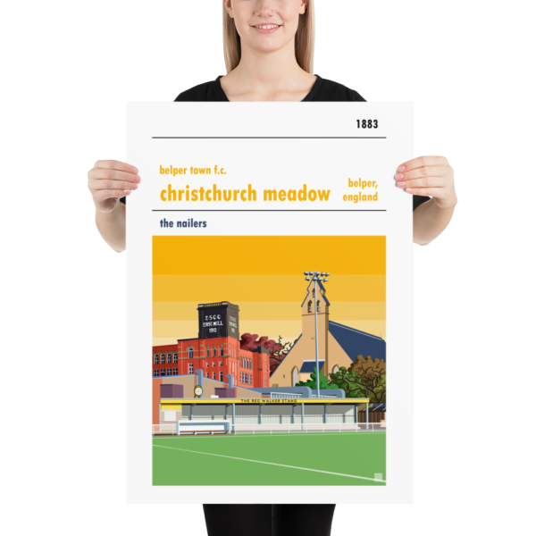Large football poster of Yellow Sky Belper Town and Christchurch Meadows