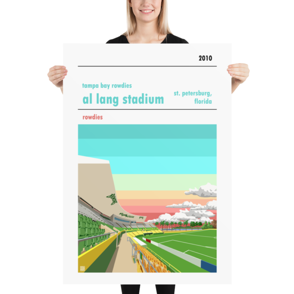 Massive football poster of Al Lang Stadium and the Tampa Bay Rowdies