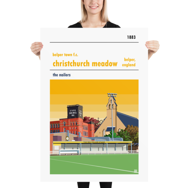 Massive football poster of Yellow Sky Belper Town and Christchurch Meadows