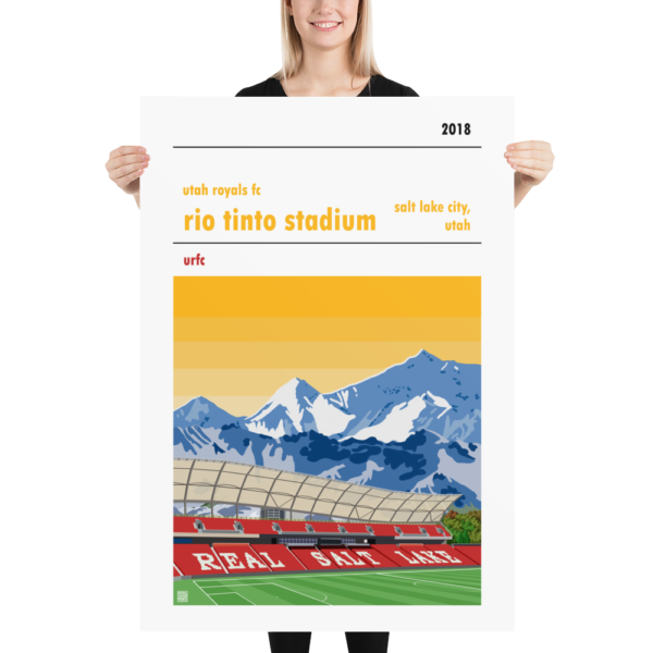 Massive football poster of the Utah Royals FC and the Rio Tinto Stadium