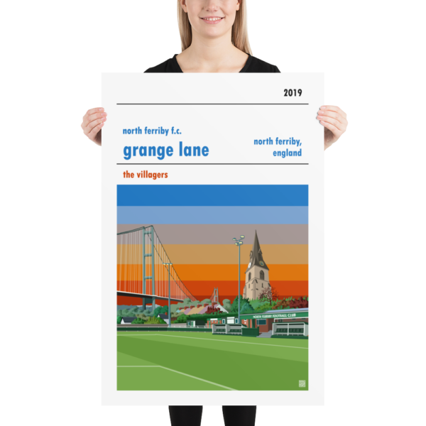 Huge football poster of North Ferriby FC and Grange Lane