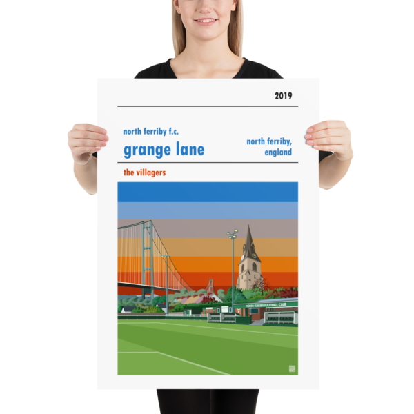 Large football poster of North Ferriby FC and Grange Lane