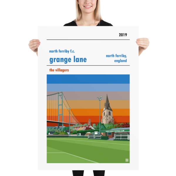 Massive football poster of North Ferriby FC and Grange Lane