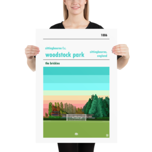 Large football poster of Sittingbourne FC and Woodstock Park