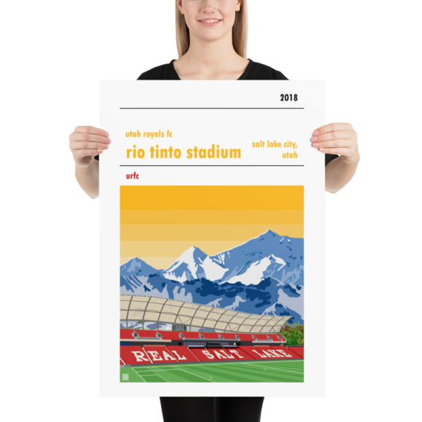 Large football poster of the Utah Royals FC and the Rio Tinto Stadium