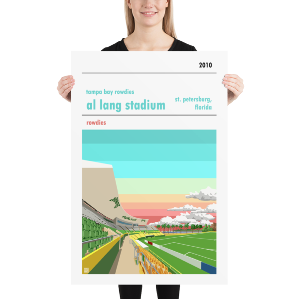 Huge football poster of Al Lang Stadium and the Tampa Bay Rowdies