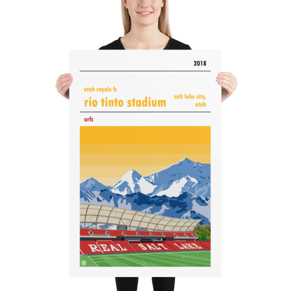Huge football poster of the Utah Royals FC and the Rio Tinto Stadium