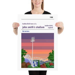 Large John Smith's Stadium and Huddersfield Town AFC, Sunset football poster