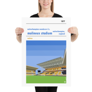 Large Wolverhampton Wanderers FC and Molineux football poster