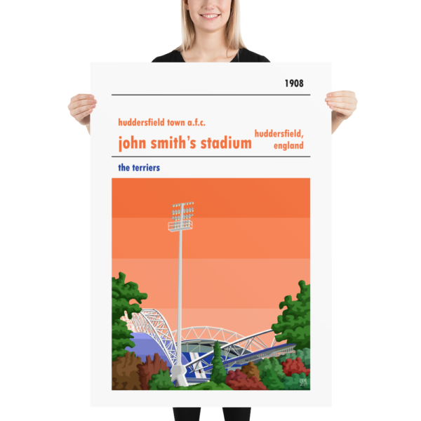 Massive football poster of Huddersfield Town AFC and John Smith's Stadum