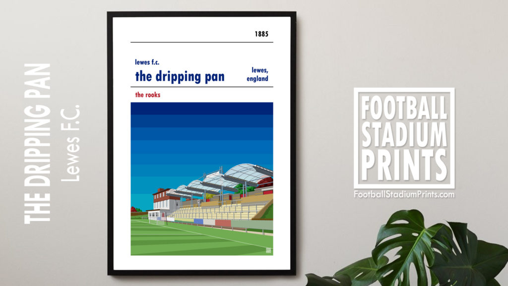 Framed hanging print of Lewes FC and the Dripping Pan