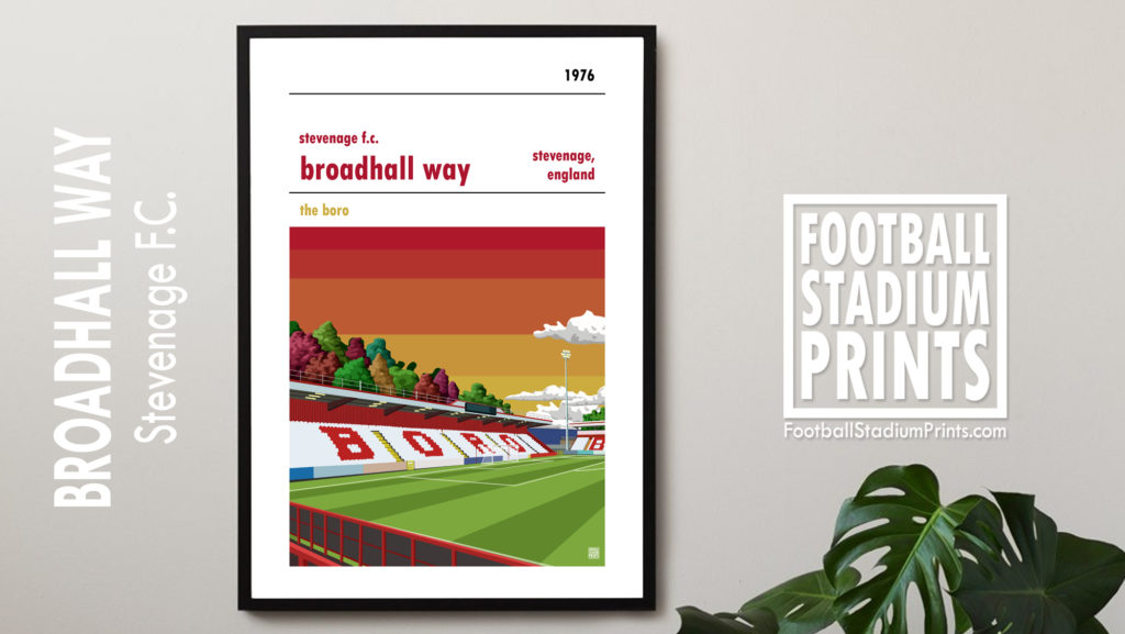 Hanging framed print of Stevenage FC and Broadhall Way