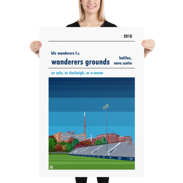Massive football poster of HFX Wanderers and Wanderers Ground