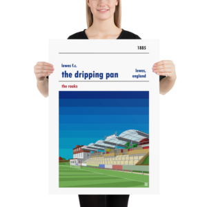 Large football poster of the Dripping Pan and Lewes FC