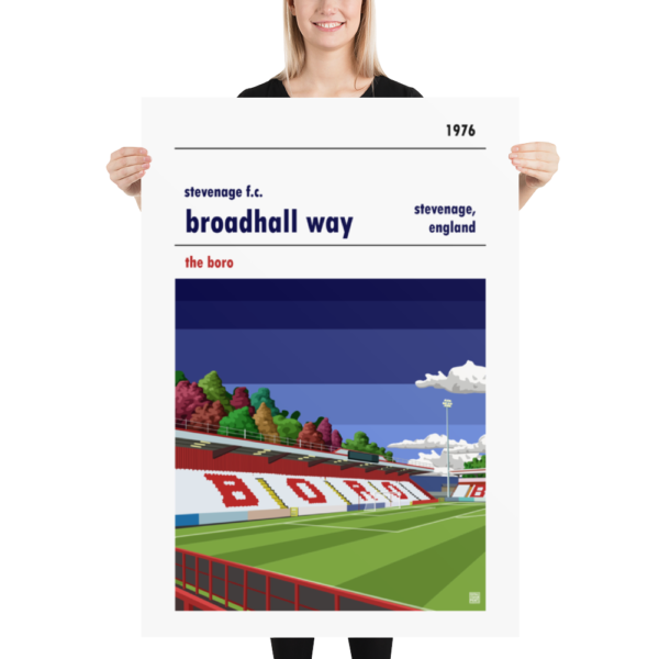 Massive football poster of Stevenage FC and Broadhall Way blue sky