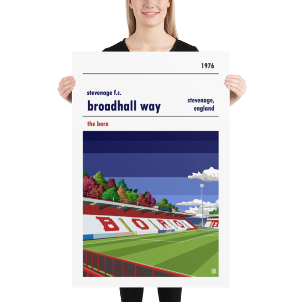 Huge football poster of Stevenage FC and Broadhall Way blue sky