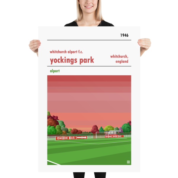 Massive football poster of Whitchurch Alport FC and Yockings Park