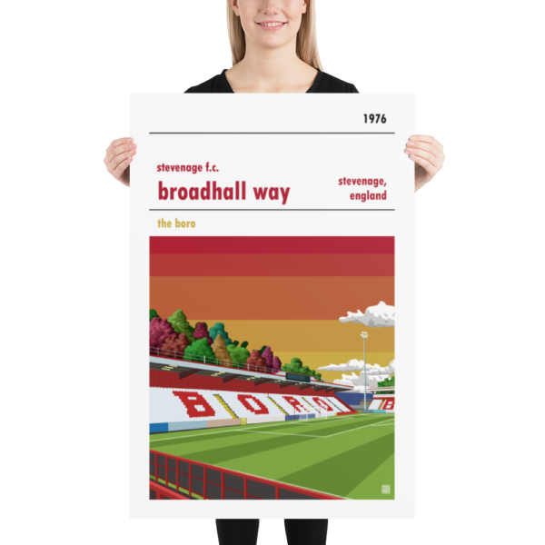 Huge football poster of Stevenage FC and Broadhall Way