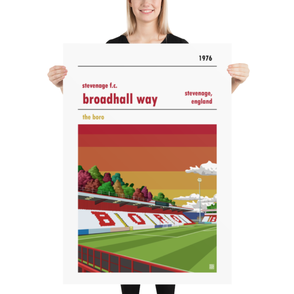 Massive football poster of Stevenage FC and Broadhall Way