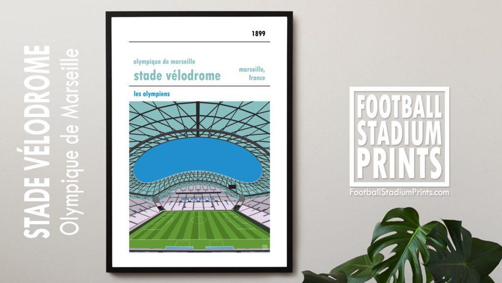 Hanging framed print of MArseille and Stade Velodrome