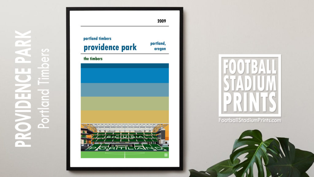 Hanging framed football print of Portland Timbers and Providence Park