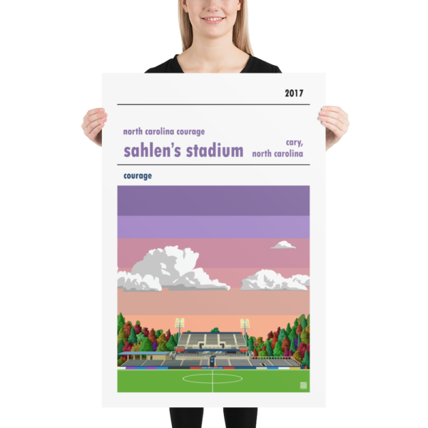 Huge soccer poster of North Carolina Courage and Sahlen's Stadium