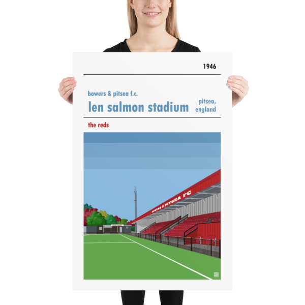 Huge football poster of Bowers & Pitsea FC and the Len Salmon Stadium