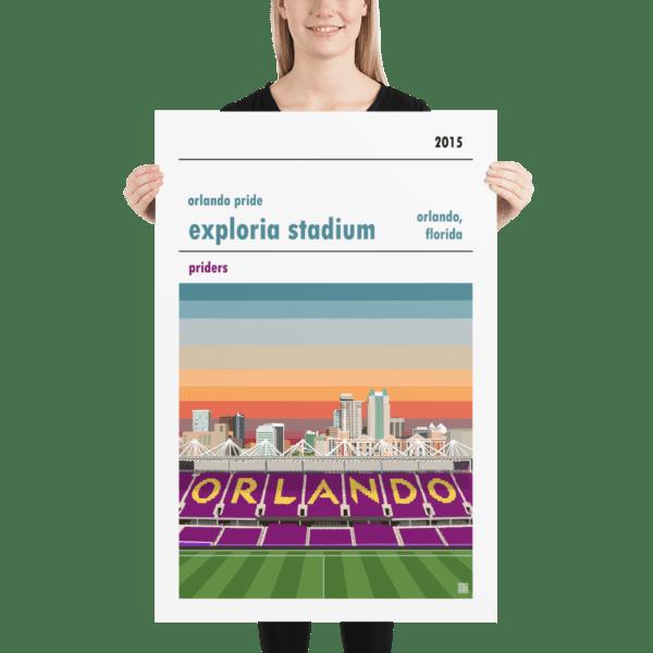 Huge football poster of Orlando Pride and Exploria Stadium
