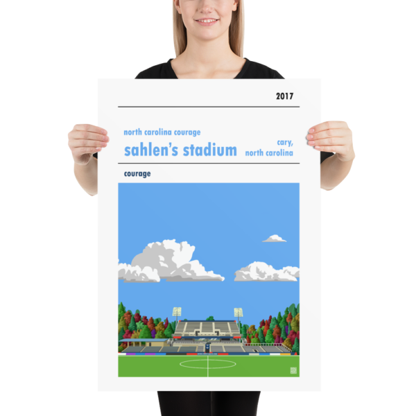 Large football poster of North Carolina Courage and Sahlen's Stadium with blue sky