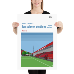 Large football poster of Bowers & Pitsea FC and the Len Salmon Stadium