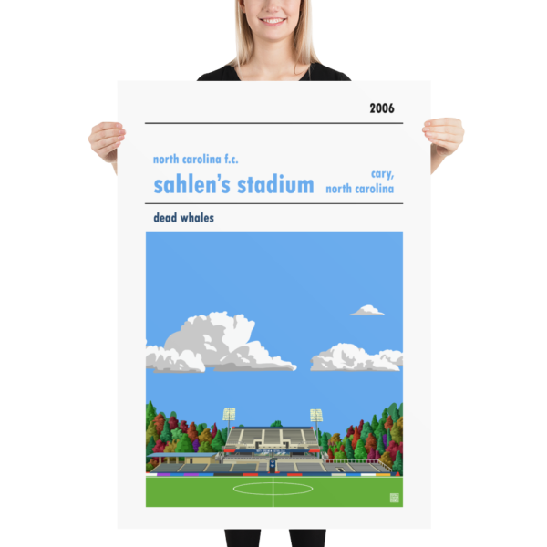 MAssive football poster of football poster of North Carolina FC and Sahlen's Stadium with blue sky