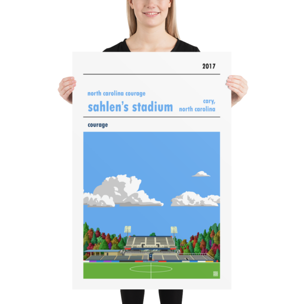 Huge football poster of North Carolina Courage and Sahlen's Stadium with blue sky
