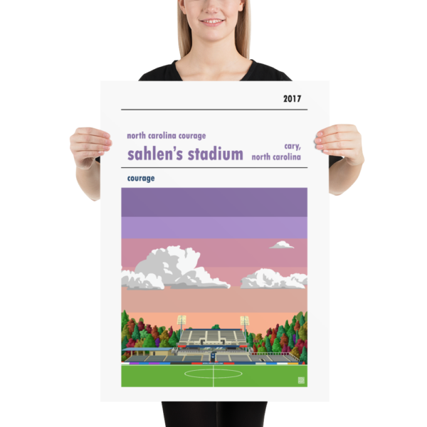 Large soccer poster of North Carolina Courage and Sahlen's Stadium