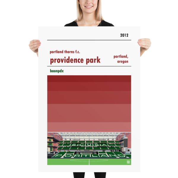 Massive soccer poster of Portland Thorns FC and Providence Park