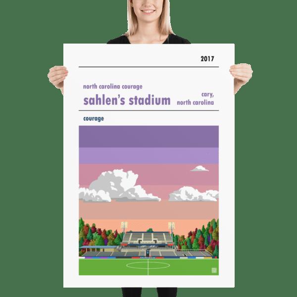 Massive soccer poster of North Carolina Courage and Sahlen's Stadium