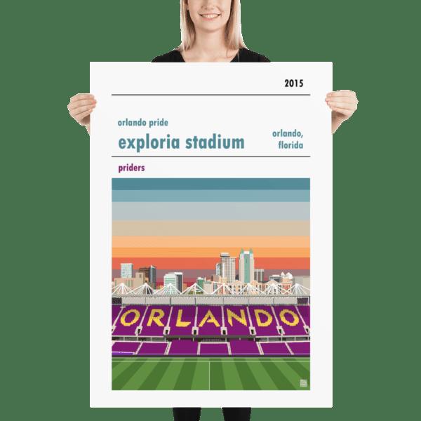 Massive football poster of Orlando Pride and Exploria Stadium
