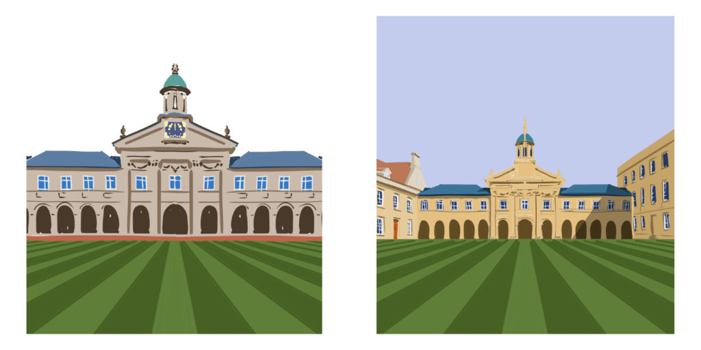Completed Emmanuel College Football Stadium Prints