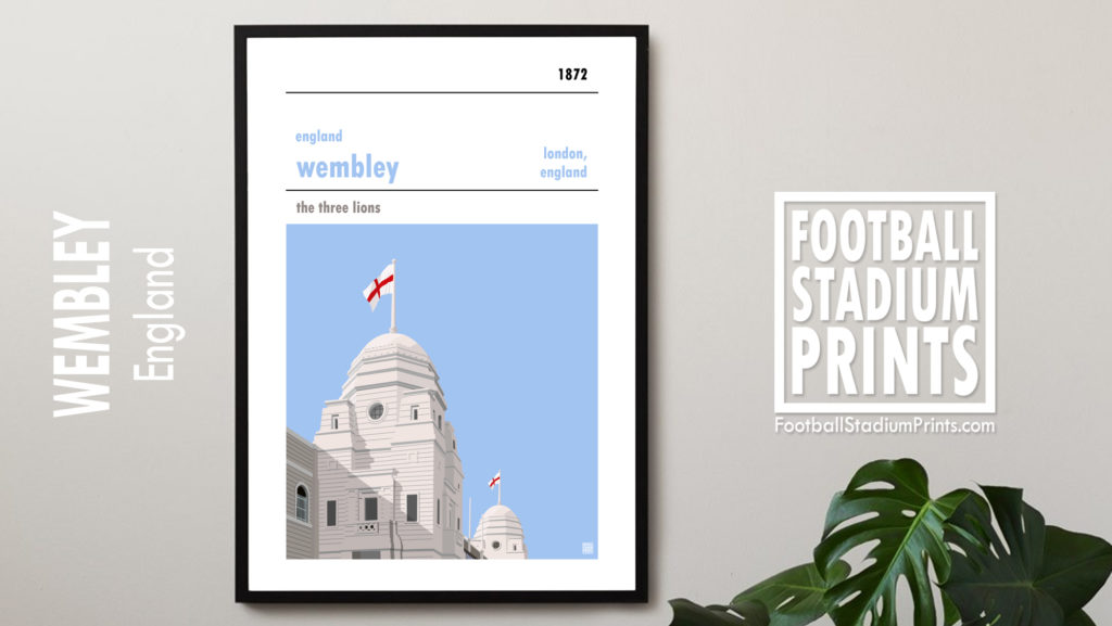 Hanging framed football print of England and Wembley