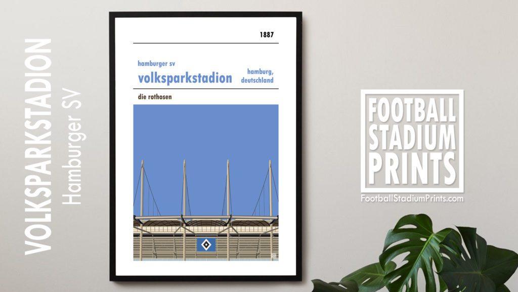 Hanging framed football print of Hamburg SV and the Volksparkstadion