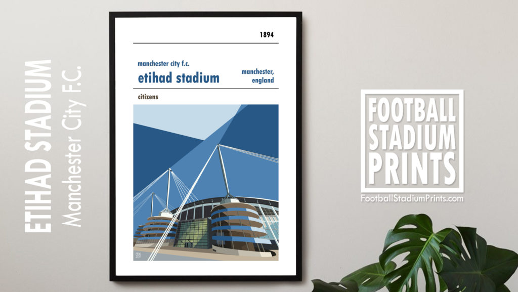 Framed Football print of Man City FC