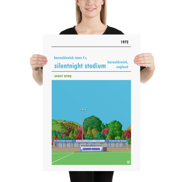 Large football poster of Barnoldswick Town FC and Silentnight Stadium