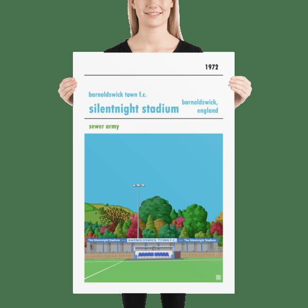 Huge football poster of Barnoldswick Town FC and Silentnight Stadium
